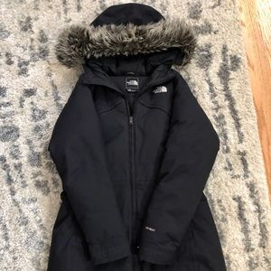 North Face knee-length winter parka.